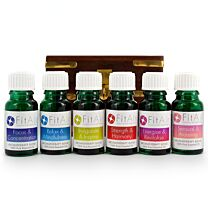FitAir Aromatherapy Oils with Carved Wood Storage Box 1