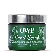 Organic Where Possible (OWP) Olive, Geranium & Spearmint Hardworking Hands Hand Scrub 2
