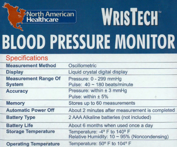Wristech Blood Pressure Monitor information
