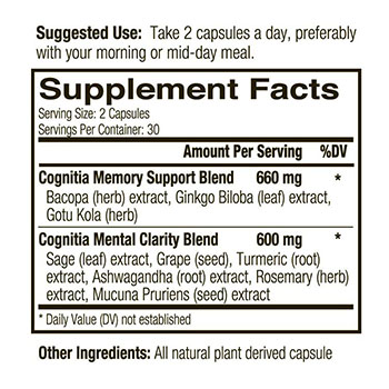 Blessed Herbs Cognitia Memory supplement nutritional info