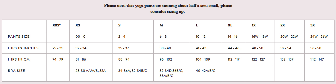 Dear Kate Yoga Pants Sizing Chart