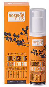 night cream contains organic rosehip oil