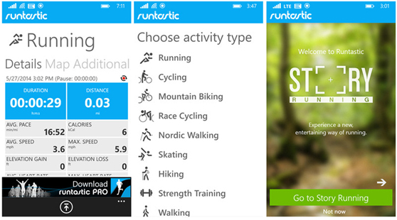 Runtastic App Screens