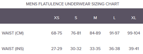 Shreddies Flatulence Filtering Underwear for Men Sizing Chart