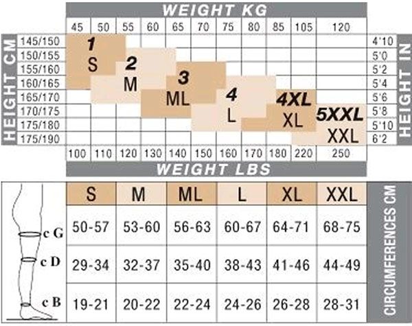 Solidea Silver Wave Long Compression Leggings Size Chart