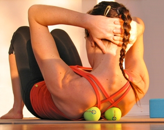 Yoga Tune Up Therapy Balls in use