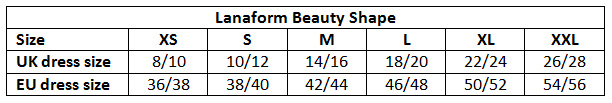 Lanaform Beauty Shape sizes