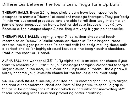 Yoga Tune Up Comparison Table