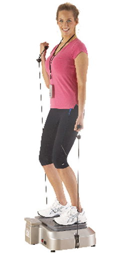 The reviber Plus power plate works your upper body with resistance bands as well as your lower body and legs