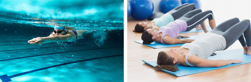 Swimming and Pilates are great low impact exercises for your pelvic floor!