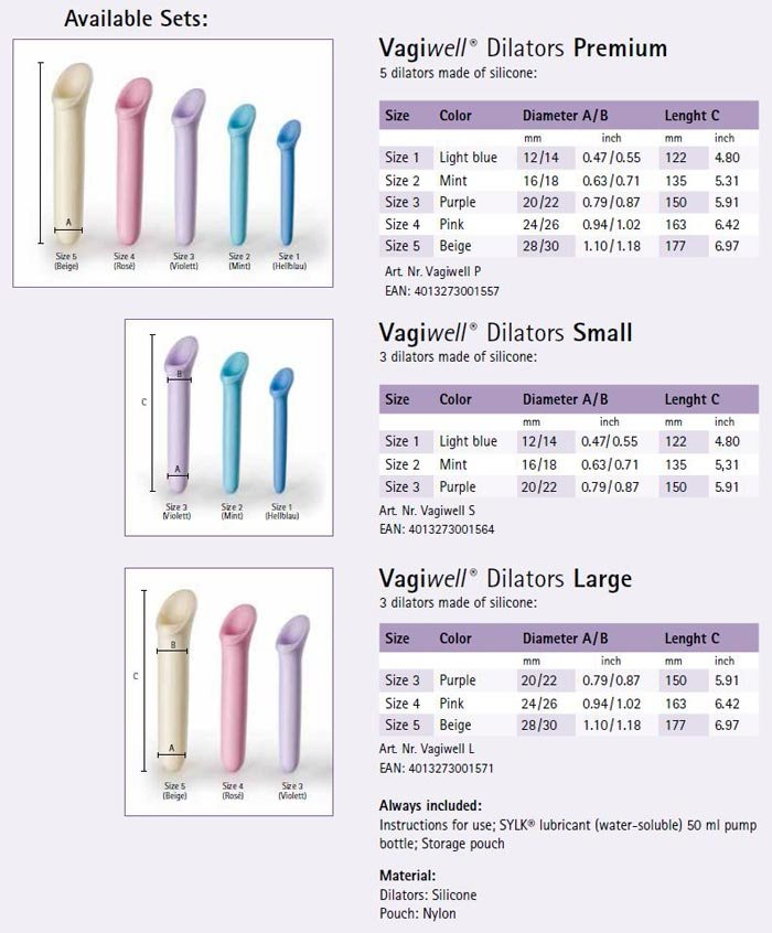 Vagiwell Dilators Sizes