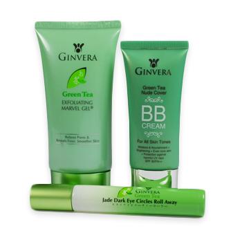 Ginvera Green Tea Exfoliating Marvel Gel, Nude Cover BB Cream & Jade Dark Eye Circles Roll Away
